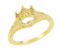 Art Deco 3/4 Carat Crown of Leaves Filigree Engagement Ring Setting in 18 Karat Gold