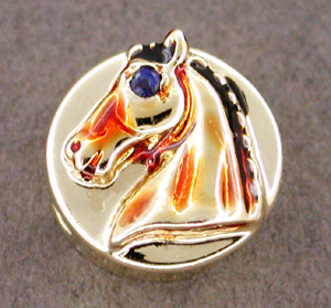 Enameled Horse Slide with Sapphire Eye in 14 Karat Gold