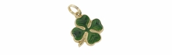 Enameled Lucky 4 Leaf Clover Charm in 14 Karat Gold