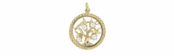 Tree of Life Vintage Pearl Set Pendant in 14 Karat Gold