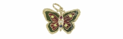 Enameled Gem Set Movable Butterfly Pendant in 14 Karat Gold