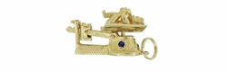Vintage Baby on a Movable Scale Charm Pendant in 14 Karat Yellow Gold with Ruby, Sapphire, and Diamond