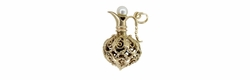 Antique Filigree Jug Pendant with Pearl Top in 14 Karat Gold