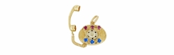 Movable Gemstone Set Telephone Charm in 14 Karat Gold