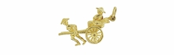 Vintage Rickshaw Charm with Movable Wheels in 18 Karat Gold