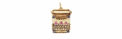 Vintage Gem Set Movable Typewriter Charm in 14 Karat Gold