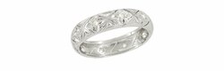 Art Deco Diamond Set Antique Wedding Band in Platinum - Size 7