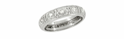 Art Deco Diamond Set Antique Wedding Band in Platinum - Size 5 1/2