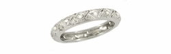 Art Deco Diamond Set Antique Wedding Band in 18 Karat White Gold - Size 7 1/2