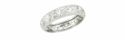 Art Deco Hamburg Diamond Antique Wedding Band in Platinum - Size 6 1/2