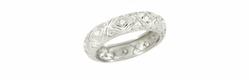 Art Deco Diamond Set Antique Wedding Band in Platinum - Size 5