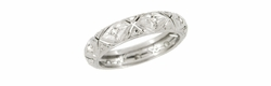 Art Deco Diamond Set Antique Wedding Band in Platinum - Size 7 1/4