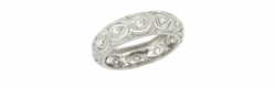 Art Deco Diamond Set Scalloped Filigree Antique Wedding Ring in Platinum - Size 4 3/4