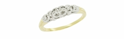 Vintage Diamond Set Wedding Band in 10 Karat White and Yellow Gold