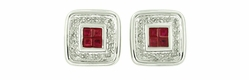 Art Deco Ruby and Diamond Earrings in 14 Karat White Gold