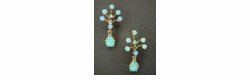 White Opal Peacock Drop Victorian Antique Earrings In 14 Karat Gold