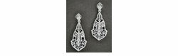 Art Deco Filigree Diamond Dangling Earrings in 14 Karat White Gold