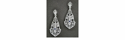 Art Deco Filigree Sapphire Dangling Earrings in 14 Karat White Gold
