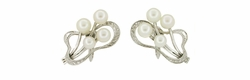 Vintage Mikimoto Pearl Earrings in Sterling Silver
