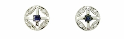 Art Deco Sapphire and Diamond Earrings in 14 Karat White Gold