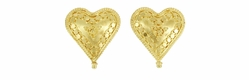 Hand Granulated Heart Earrings in 18 Karat Gold