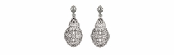 Art Deco Diamond Filigree Teardrop Earrings in Sterling Silver
