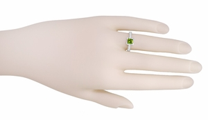Art Deco 1 Carat Princess Cut Peridot and Diamond Engagement Ring in 18 Karat White Gold - Click to enlarge