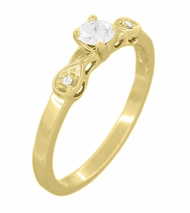 Retro Moderne 1/4 Carat Diamond Engagement Ring in 14 Karat Yellow Gold - Item R380Y25 - Image 1