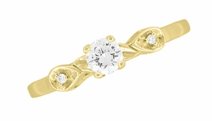 Retro Moderne 1/4 Carat Diamond Engagement Ring in 14 Karat Yellow Gold - Click to enlarge