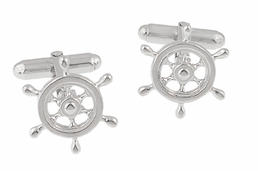Ship's Wheel Nautical Cufflinks in Sterling Silver