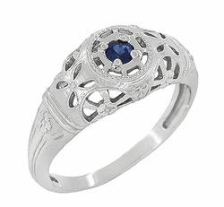 Art Deco Filigree Blue Sapphire Ring in 14 Karat White Gold
