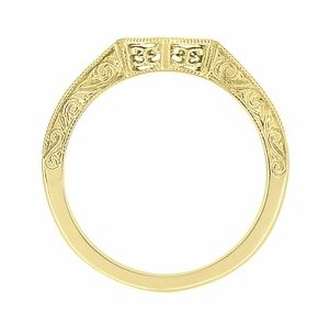 Art Deco Filigree Scrolls Engraved Contoured Wedding Band in 14 Karat Yellow Gold - Click to enlarge