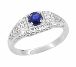 Art Deco Sapphire and Diamond Filigree Engagement Ring in 14 Karat White Gold