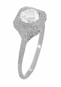 Filigree Scrolls 1/2 Carat Diamond Engraved Engagement Ring in 14 Karat White Gold - Click to enlarge