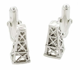 Oil Derrick Cufflinks in Sterling Silver