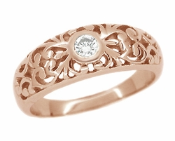 Filigree Diamond Ring in 14 Karat Rose ( Pink ) Gold