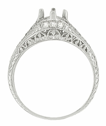 Art Deco 2/5 Carat Diamond Filigree Engagement Ring Setting in Platinum