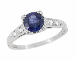 Art Deco Sapphire and Diamonds Engraved Engagement Ring in Platinum, 1920's Vintage Style Classic Sapphire Engagement Ring