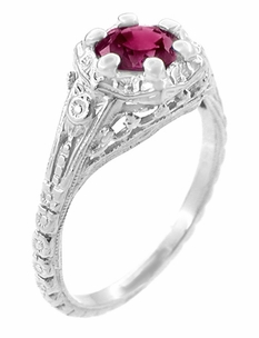 Art Deco Filigree Flowers Rhodolite Garnet Engagement Ring in 14 Karat White Gold - Click to enlarge