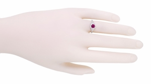 Art Deco Filigree Flowers Rhodolite Garnet Engagement Ring in 14 Karat White Gold - Item R706WRG - Image 3