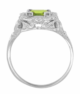 Princess Cut Peridot Art Nouveau Ring in 14 Karat White Gold - Item R615WPER - Image 3