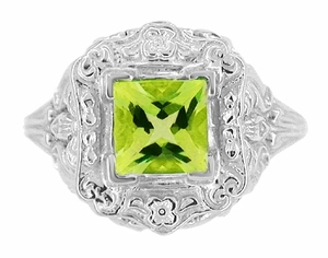 Princess Cut Peridot Art Nouveau Ring in 14 Karat White Gold - Click to enlarge