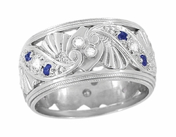 Retro Moderne Filigree Sapphire and Diamond Wide Wedding Ring in 14 Karat White Gold