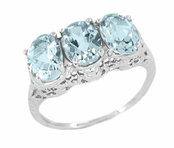 Oval Trio Aquamarine Filigree Ring in 14 Karat White Gold