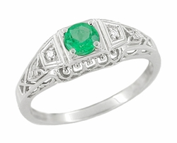 Art Deco Emerald and Diamond Filigree Engagement Ring in 14 Karat White Gold | 1920s Classic Low Profile Antique Design