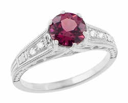 Vintage Style Raspberry Rhodolite Garnet and Diamond Filigree Engagement Ring in 14 Karat White Gold