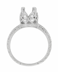Art Deco 1 Carat Diamond Engraved Filigree Loving Butterflies Engagement Ring Setting in Platinum