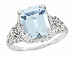 Emerald Cut Aquamarine Platinum Filigree Edwardian Engagement Ring