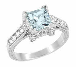 Art Deco 3/4 Carat Princess Cut Aquamarine and Diamond Engagement Ring in 18 Karat White Gold