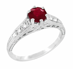 Art Deco Antique Ruby and Diamond Filigree Engagement Ring Design in 14 Karat White Gold